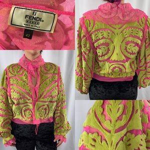 Vintage Fendi pink&green fuzz sheer tie jacket 42